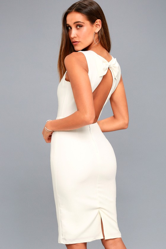 Chic White Midi Dress - Sleeveless Dress - Open Back Dress