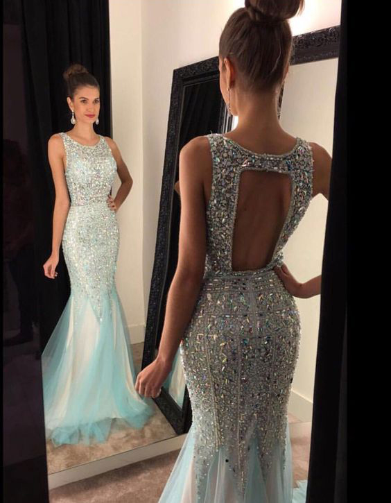 Shinny Beaded Mermaid Prom Dresses,Open Back Evening Dresses,Long