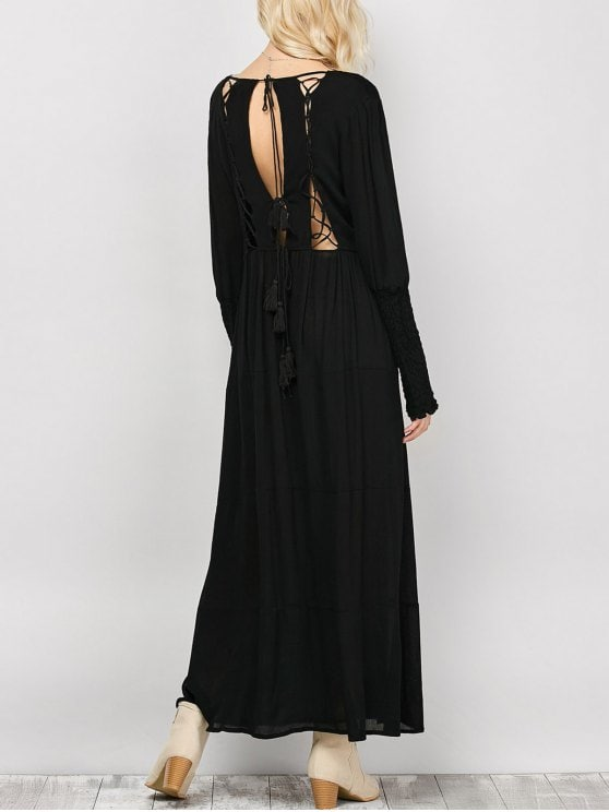 32% OFF] 2019 Long Sleeve Open Back Maxi Dress In BLACK S | ZAFUL