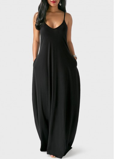 Open Back Pocket Decorated Black Maxi Dress | Rosewe.com - USD