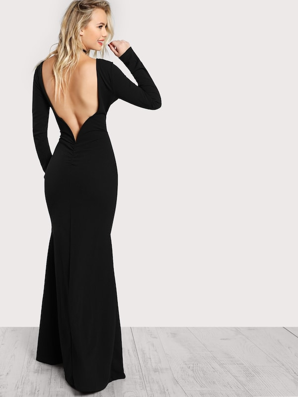 Long Sleeve Open Back Bodycon Maxi Dress | SHEIN