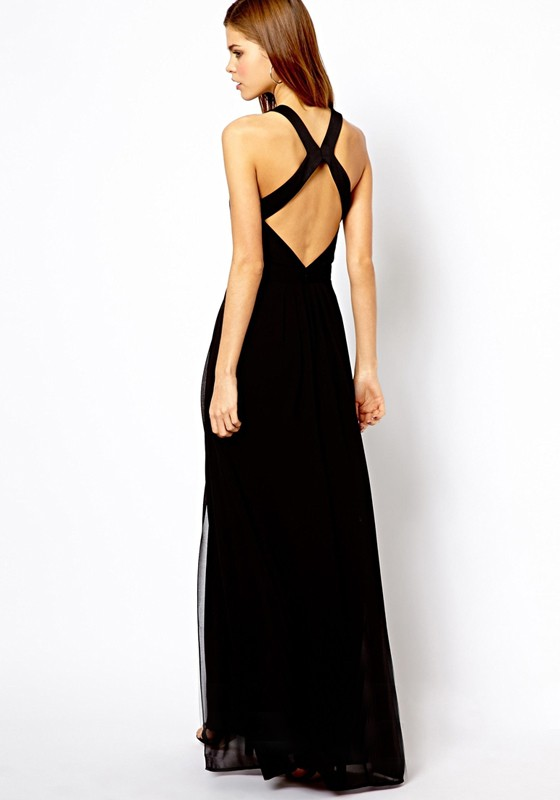 Black Plain Open Back Cross Back Homecoming Chiffon Maxi Dress