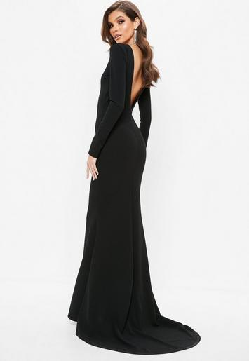 Black Open Back Maxi Dress | Missguided