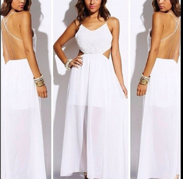 dress, white dress, maxi dress, long dress, open back dresses