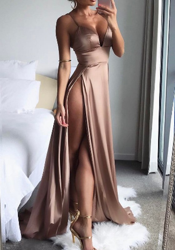 Golden Zipper Double Slit Spaghetti Straps Open Back Maxi Dress