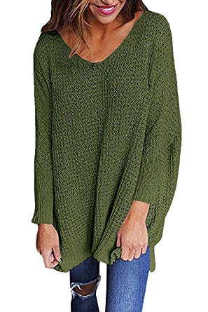 Mafulus Womens Oversized Sweaters Casual V Neck Long Sleeve Loose