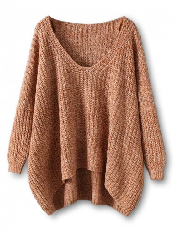 35% OFF] 2019 Chunky V Neck Oversized Sweater In COFFEE ONE SIZE | ZAFUL