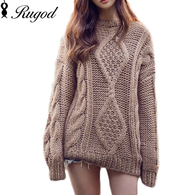 Twisted Loose Knitted Pullovers Oversized Sweaters Women's Thicken