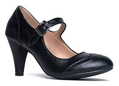 Amazon.com | J. Adams Mary Jane Oxford Pumps - Cute Low Kitten Heels