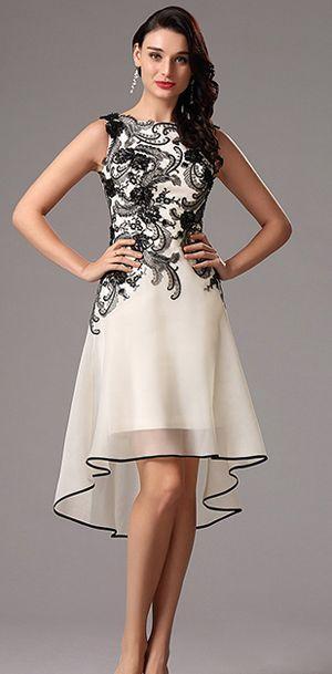 Sleeveless Black Lace Applique Cocktail Dress Party Dress (04160800