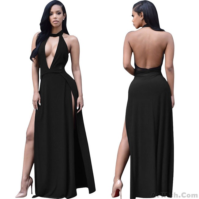 Sexy Halter Deep V Split Backless Women Party Long Dress | Fashion