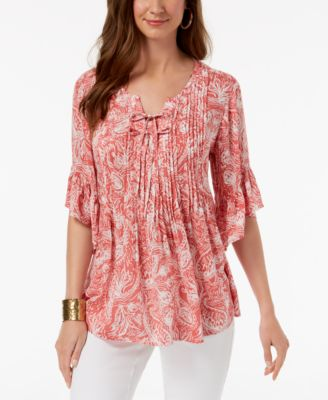 Style & Co Paisley Pintuck Peasant Top, Created for Macy's - Tops