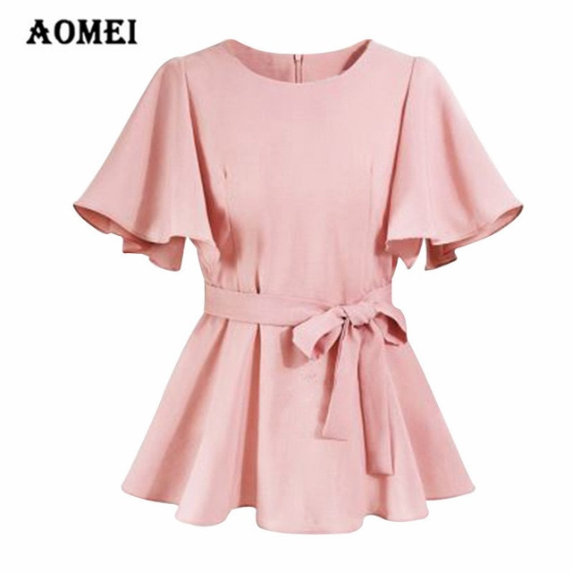 Women Shirts Peplum Tops with Waistbelt Round Neck Blouse Officewear
