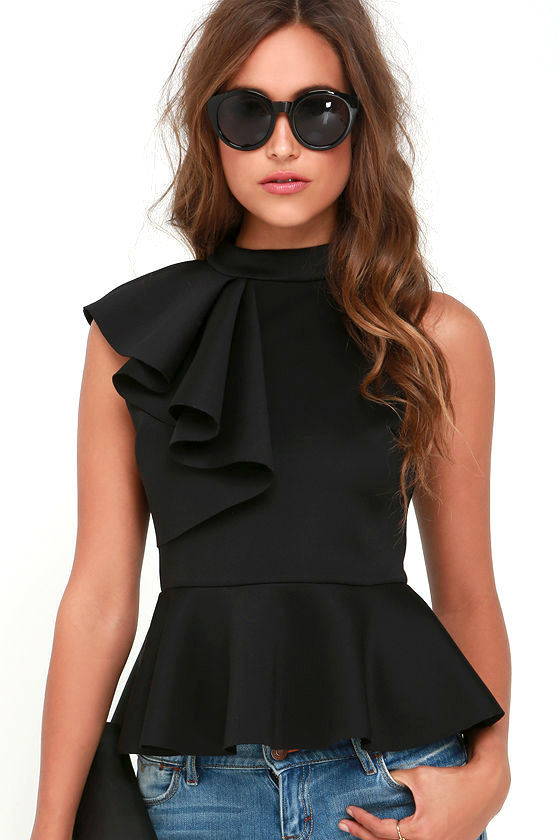 Pretty Black Top - Peplum Top - Ruffle Top - $39.00