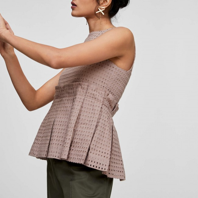 Nutmeg Schiffli Peplum Top | Buy Peplum Tops Online | Empire Waist Tops