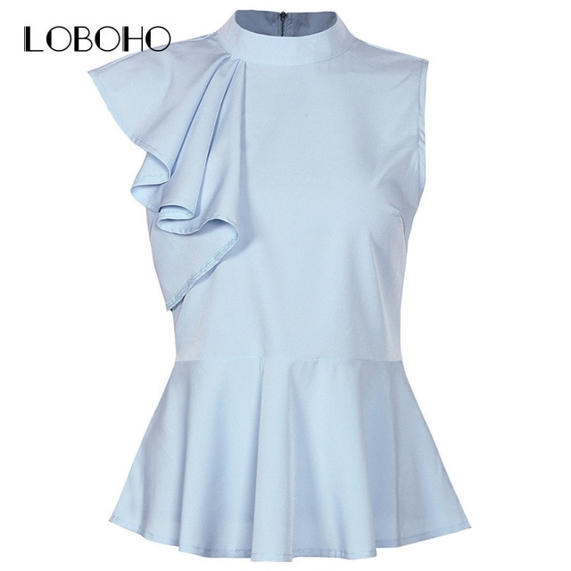 Womens Peplum Tops And Blouses Summer 2018 New Arrival Ruffle Blouse