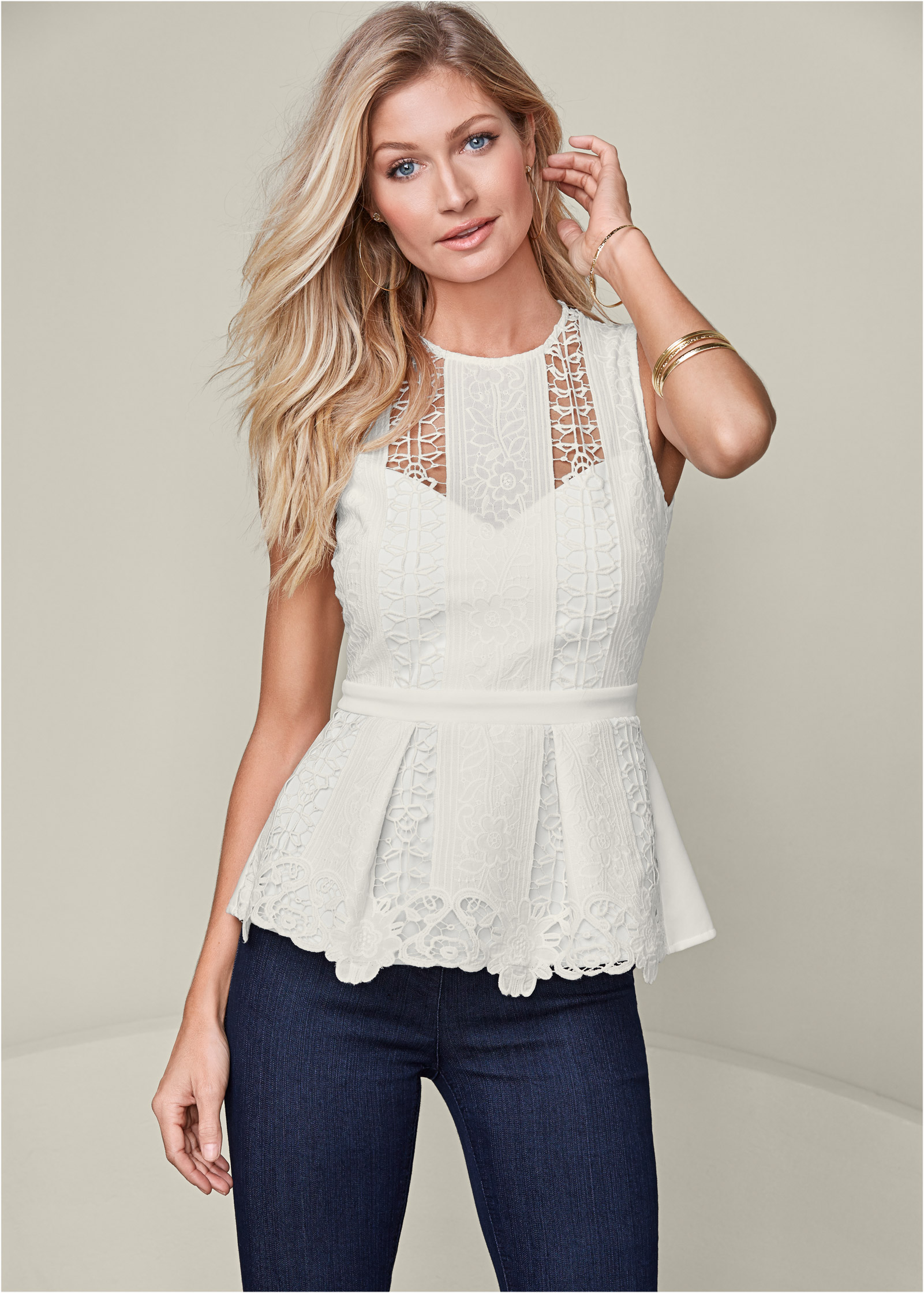 LACE PEPLUM TOP in White | VENUS