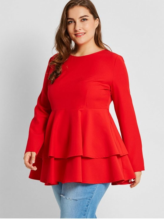 44% OFF] 2019 Tiered Plus Size Peplum Top In RED 4XL | ZAFUL