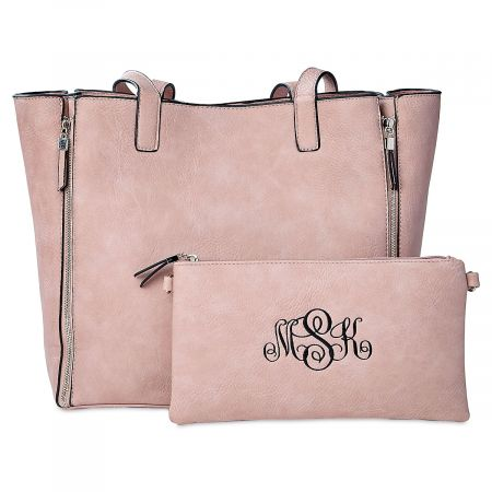 Pink Carry-All Bag with Matching Personalized Crossbody Purse