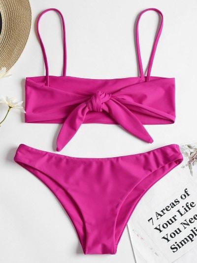 66% OFF] 2019 Reversible Bowtied Bralette Bikini Set In NEON PINK S