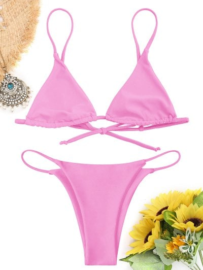 Pink Bikini | Hot, Push Up, High Waist, Striped And String Pink