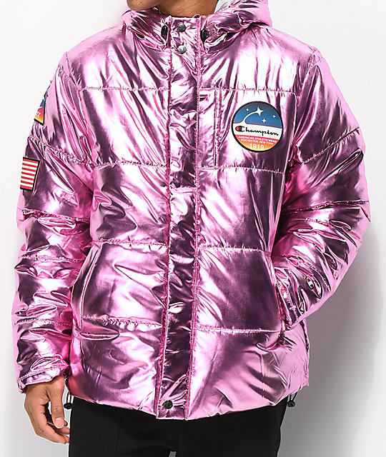 Champion Metallic Pink Puffer Jacket | Zumiez