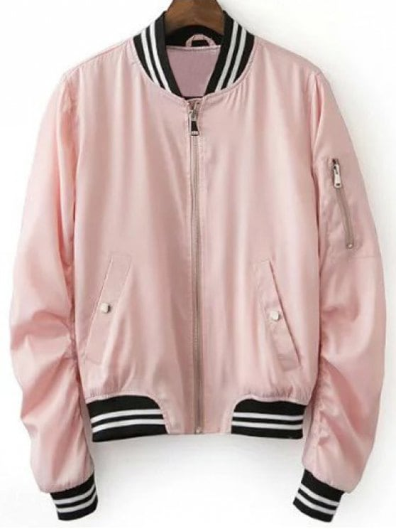 2019 Pink Baseball Jacket In PINK L | ZAFUL