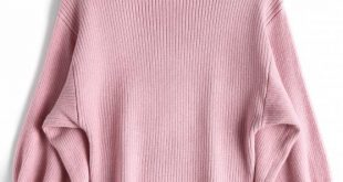 44% OFF] 2019 Lantern Sleeve Mock Neck Sweater In PINK ONE SIZE | ZAFUL