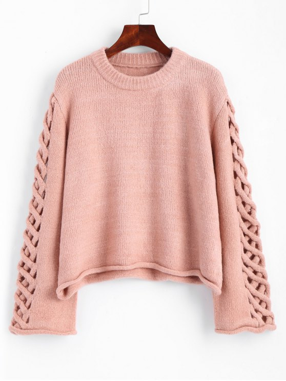 29% OFF] 2019 Oversized Braided Sleeve Pullover Sweater In PINK ONE