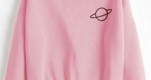 51% OFF] [HOT] 2019 Planet Graphic Drop Shoulder Sweatshirt In PINK