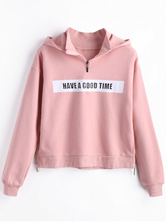 2019 Fleece Side Zippers Graphic Hoodie In PINK L | ZAFUL