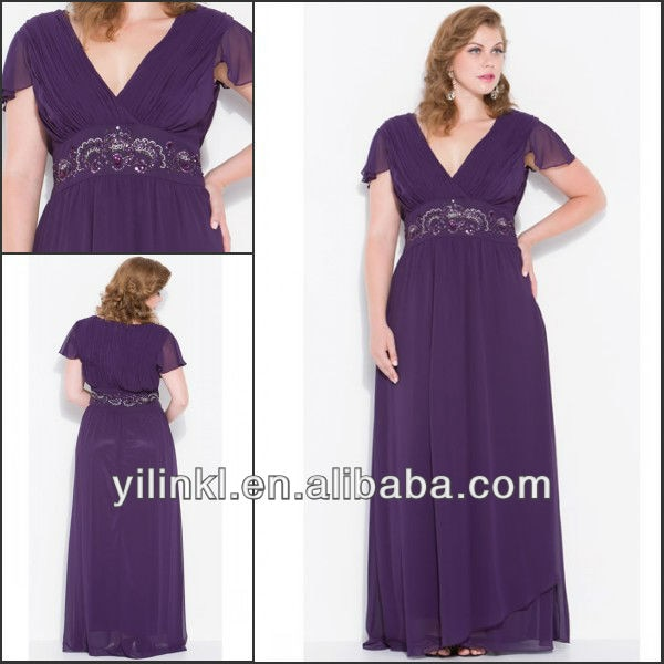Purple Color V neck Short Sleeve Super Plus Size Bridesmaid Dresses