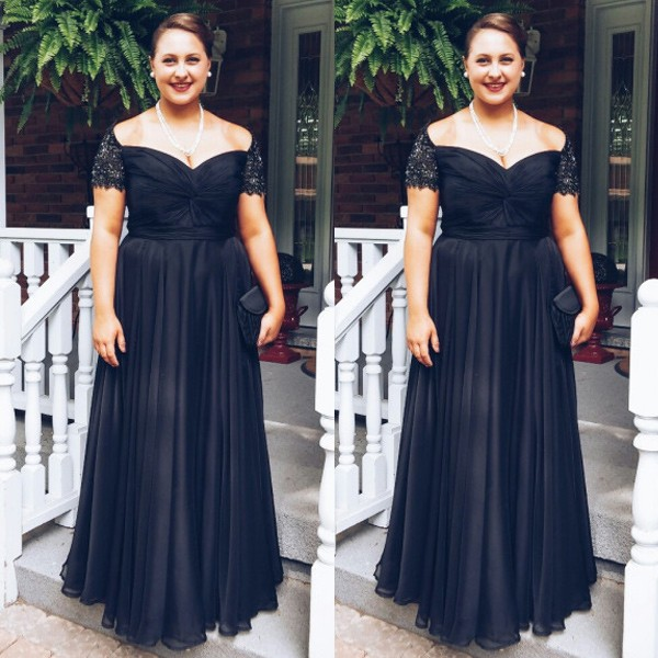Glamour Black Cap Sleeves Floor Length Plus Size Bridesmaid Dress