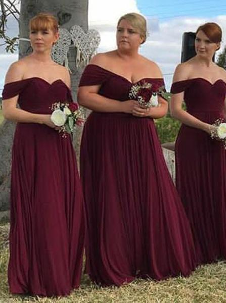 Burgundy Plus Size Bridesmaid Dress,Chiffon Off the Shoulder