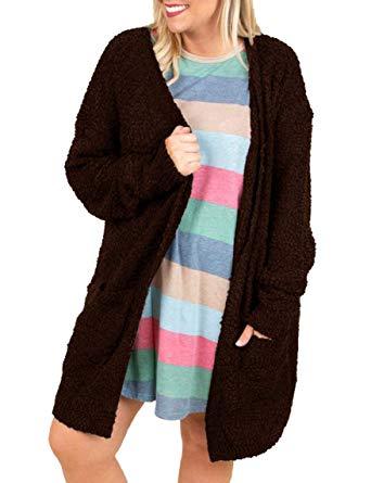 Womens Fuzzy Fleece Plus Size Cardigans Open Front Oversized Jackets