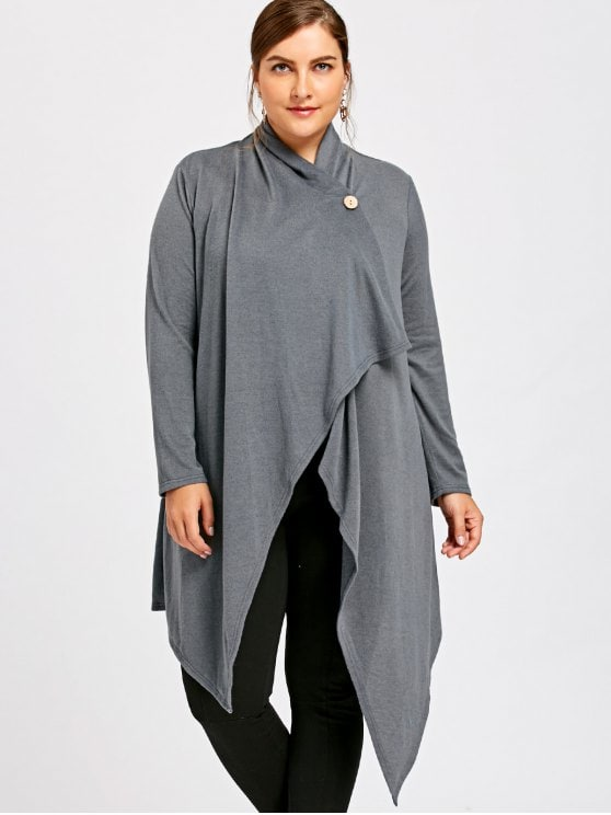 41% OFF] 2019 Plus Size One Button Asymmetrical Cardigan In GRAY XL