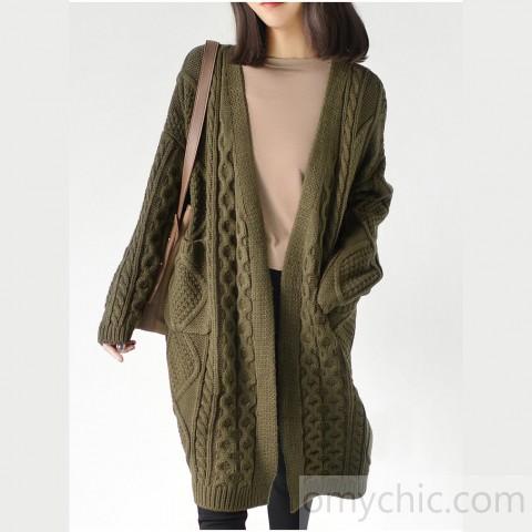 Creem woolen knit coats oversize casual outwear plus size cardigans