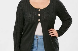 39% OFF] 2019 Plus Size Cable Knit Button Up Cardigan In BLACK 3XL