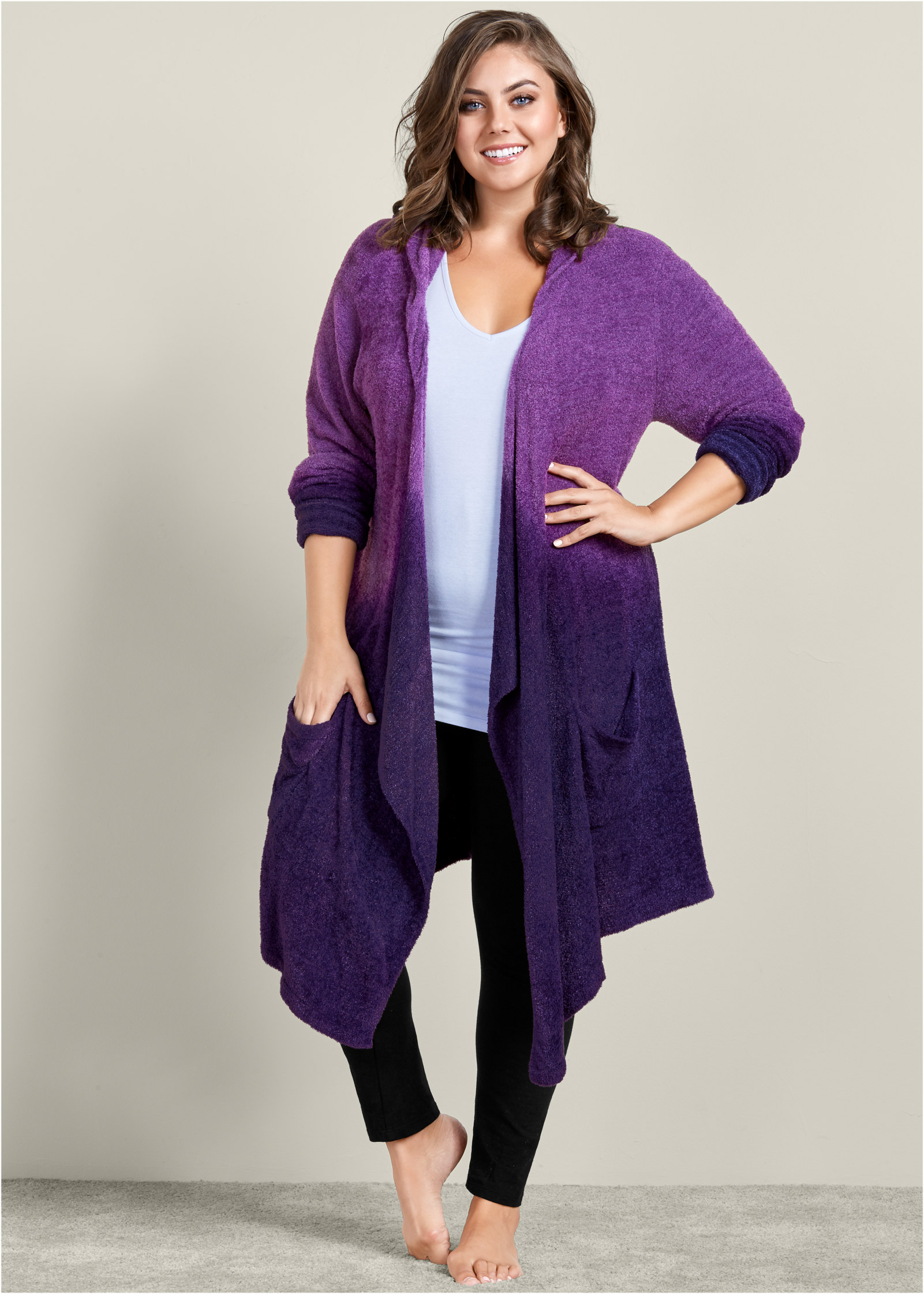 Plus Size COZY OMBRE LOUNGE CARDIGAN in Purple Multi | VENUS