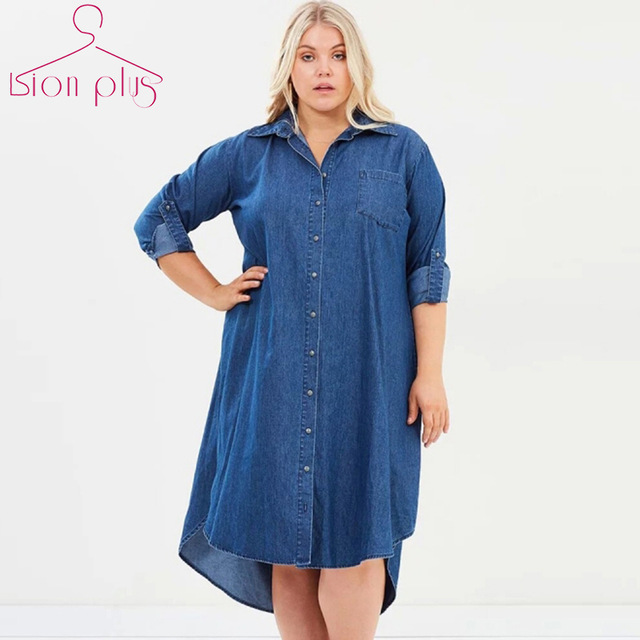 Denim Dress 5XL 7XL 6XL Plus Size Dress Autumn Loose Shirt Dress