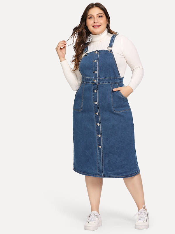 Plus Button Front Denim Dress | SHEIN