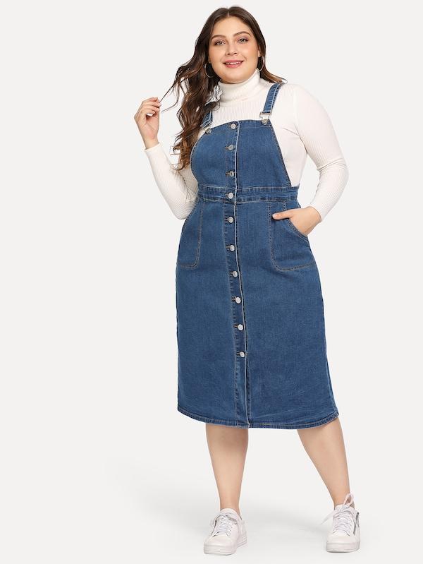 Plus Button Front Denim Dress | SHEIN