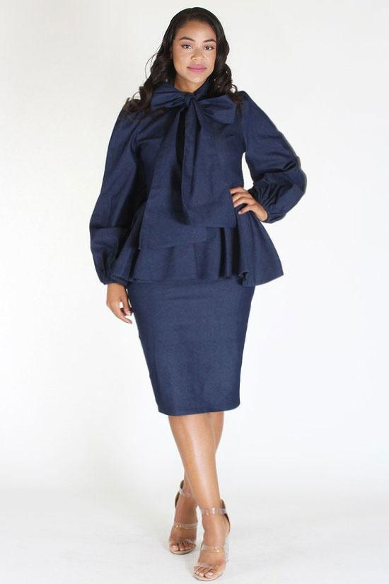 Plus Size Denim Ruffle Bow Long Sleeve Dress u2013 Plussizefix