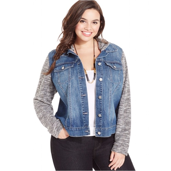 Jessica Simpson Jackets & Coats | Plus Size Hooded Denim Jacket