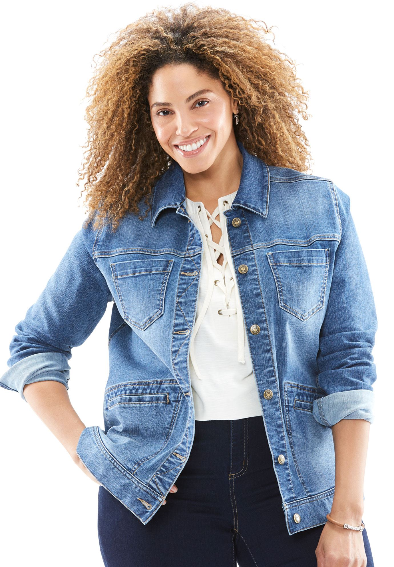 Woman Within - Plus Size Denim Jacket - Walmart.com