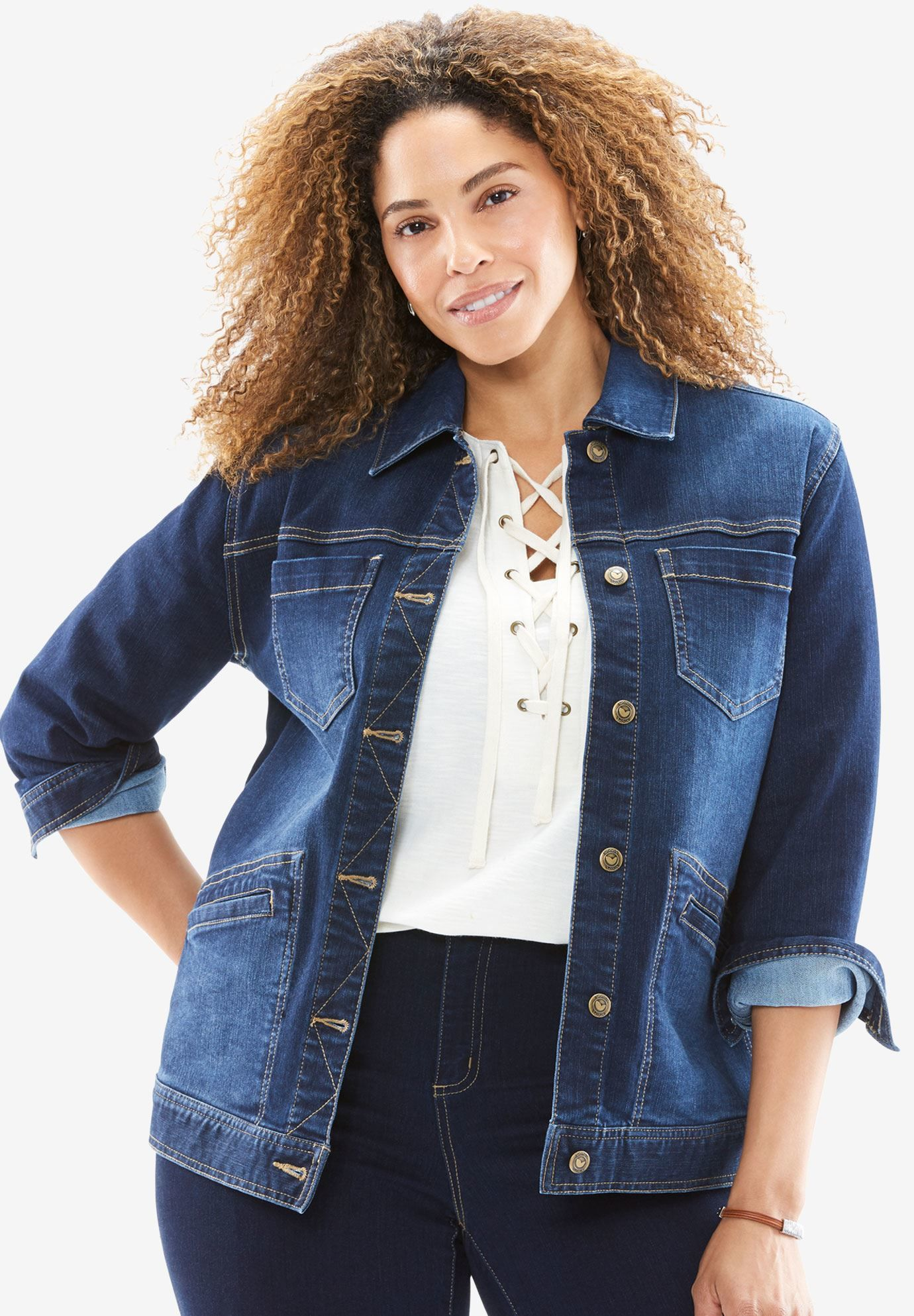 Looking to rock in winter:   plus size denim jacket is a best solution