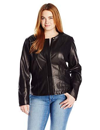 Calvin Klein Women's Plus Size Seamed Leather Jacket at Amazon