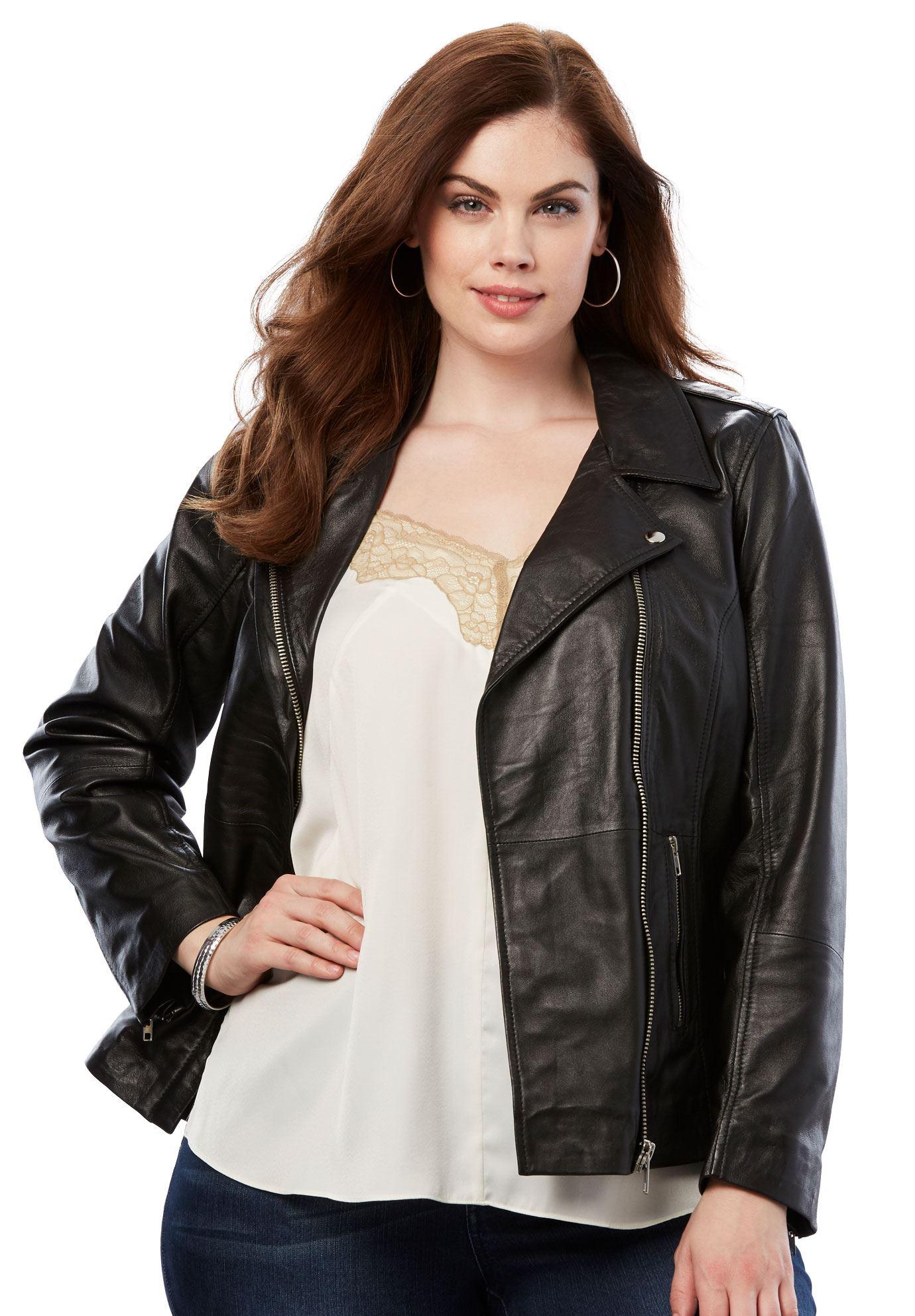 Roaman's - Plus Size Leather Moto Jacket - Walmart.com