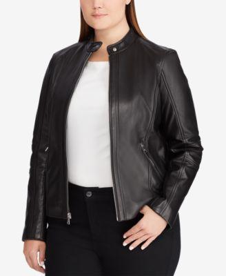 Lauren Ralph Lauren Plus Size Leather Jacket - Coats - Women - Macy's