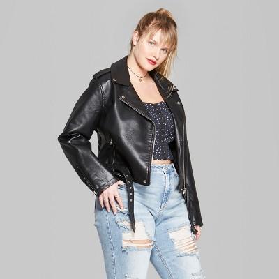 Women's Plus Size Faux Leather Moto Jacket - Wild Fable™ Black : Target
